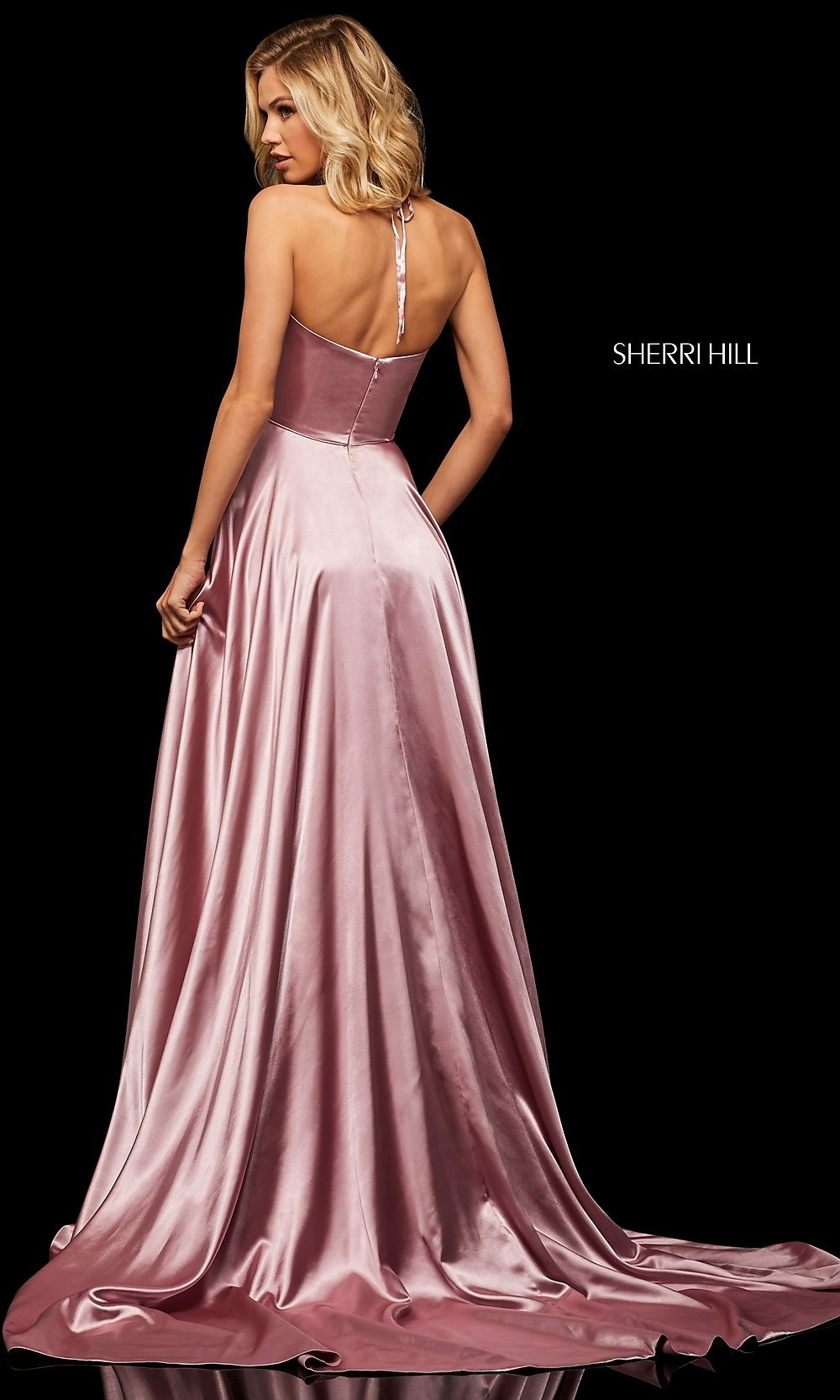 3a9d15ec0af13 ... Sherri Hill halter prom dress with pockets. Style: SH-52921. Tap to  expand