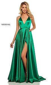 Image of classic Sherri Hill halter prom dress with pockets. Style: SH-52921 Detail Image 3