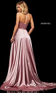 Image of classic Sherri Hill halter prom dress with pockets. Style: SH-52921 Back Image