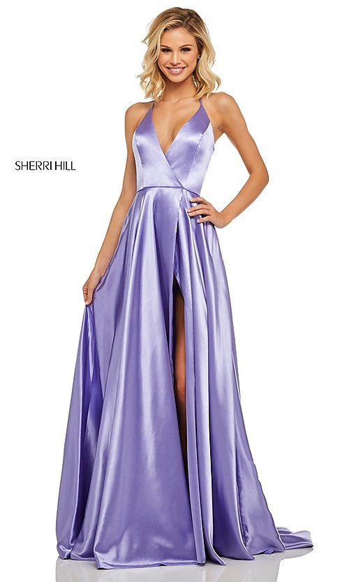 Image of classic Sherri Hill halter prom dress with pockets. Style: SH-52921 Detail Image 1