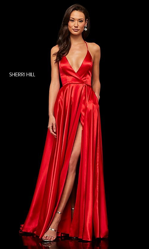 Image of classic Sherri Hill halter prom dress with pockets. Style: SH-52921 Detail Image 2
