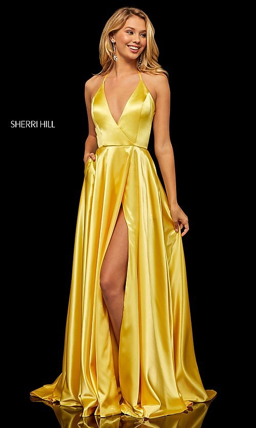 Image of classic Sherri Hill halter prom dress with pockets. Style: SH-52921 Detail Image 5