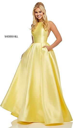 Long Classic A-Line Designer Prom Dress with Pockets
