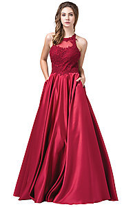 Image of long a-line satin prom dress with pockets. Style: DQ-2625 Detail Image 5