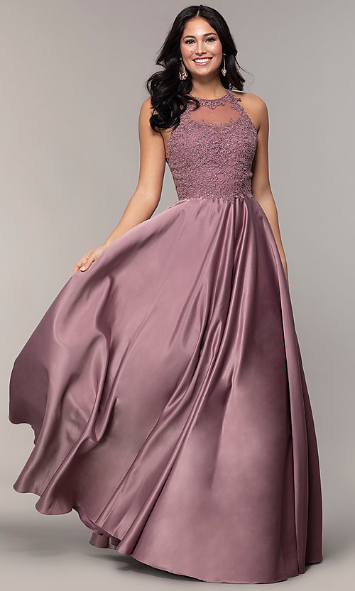 Image of long a-line satin prom dress with pockets. Style: DQ-2625 Detail Image 3