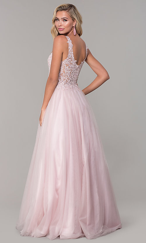 Image of long dusty pink tulle v-neck prom dress. Style: DQ-2626 Back Image