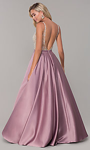 Image of long open-back v-neck prom dress Style: DQ-2568 Detail Image 5