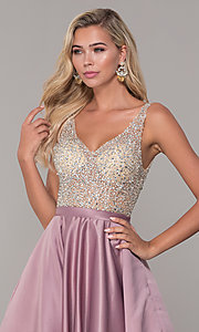 Image of long open-back v-neck prom dress Style: DQ-2568 Detail Image 6