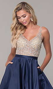 Image of long open-back v-neck prom dress Style: DQ-2568 Detail Image 1