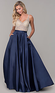 Image of long open-back v-neck prom dress Style: DQ-2568 Detail Image 3