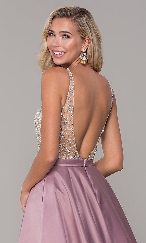 Image of long open-back v-neck prom dress Style: DQ-2568 Detail Image 7
