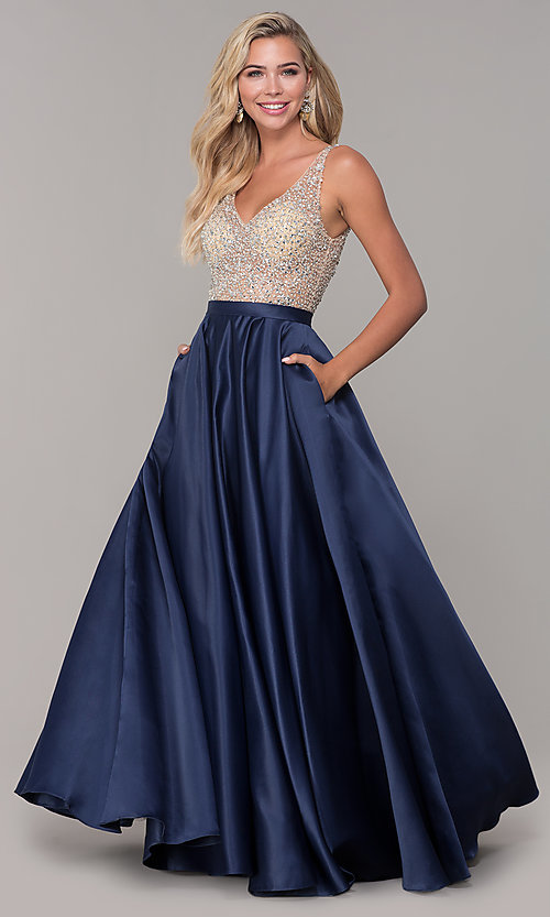 Image of long open-back v-neck prom dress Style: DQ-2568 Front Image