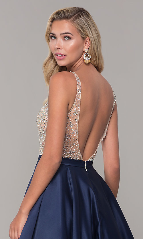 Image of long open-back v-neck prom dress Style: DQ-2568 Detail Image 2