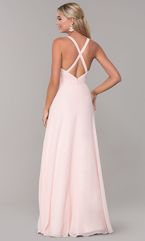 Image of long sleeveless prom dress with pleating. Style: DQ-2541 Back Image