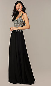 Image of v-neck long sleeveless prom dress with beaded bodice. Style: DQ-2570 Detail Image 7