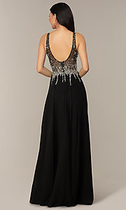 Image of v-neck long sleeveless prom dress with beaded bodice. Style: DQ-2570 Detail Image 6