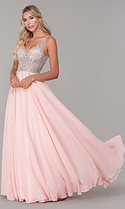 Image of v-neck long sleeveless prom dress with beaded bodice. Style: DQ-2570 Detail Image 3
