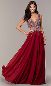 Image of v-neck long sleeveless prom dress with beaded bodice. Style: DQ-2570 Detail Image 5