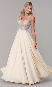 Image of v-neck long sleeveless prom dress with beaded bodice. Style: DQ-2570 Detail Image 1