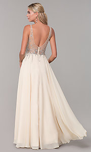 Image of v-neck long sleeveless prom dress with beaded bodice. Style: DQ-2570 Detail Image 2