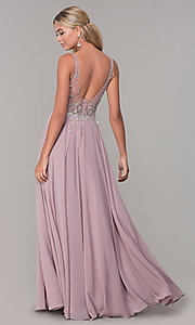 Image of v-neck long sleeveless prom dress with beaded bodice. Style: DQ-2570 Back Image