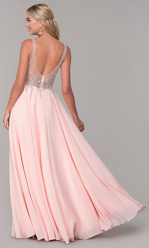 Image of v-neck long sleeveless prom dress with beaded bodice. Style: DQ-2570 Detail Image 4