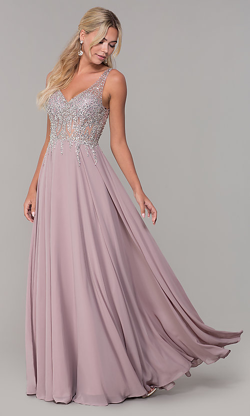 Image of v-neck long sleeveless prom dress with beaded bodice. Style: DQ-2570 Front Image