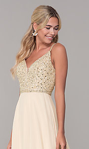 Image of long v-neck sleeveless beaded-bodice prom dress. Style: DQ-2493 Detail Image 3