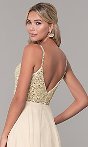 Image of long v-neck sleeveless beaded-bodice prom dress. Style: DQ-2493 Detail Image 4