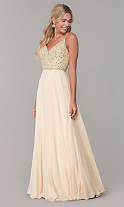 Image of long v-neck sleeveless beaded-bodice prom dress. Style: DQ-2493 Detail Image 5