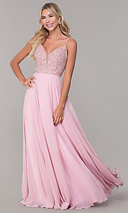Image of long v-neck sleeveless beaded-bodice prom dress. Style: DQ-2493 Detail Image 6