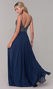 Image of long v-neck sleeveless beaded-bodice prom dress. Style: DQ-2493 Back Image