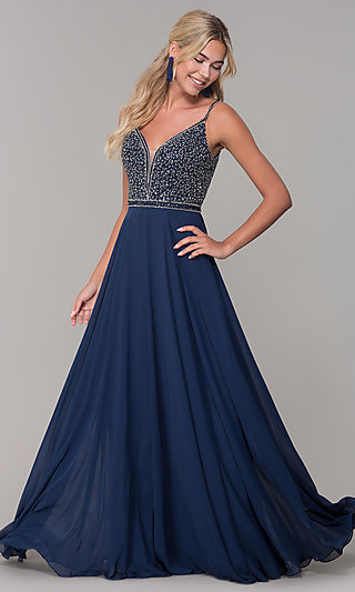 b39c7e59ba20 Long V-Neck Sleeveless Beaded-Bodice Prom Dress. Share
