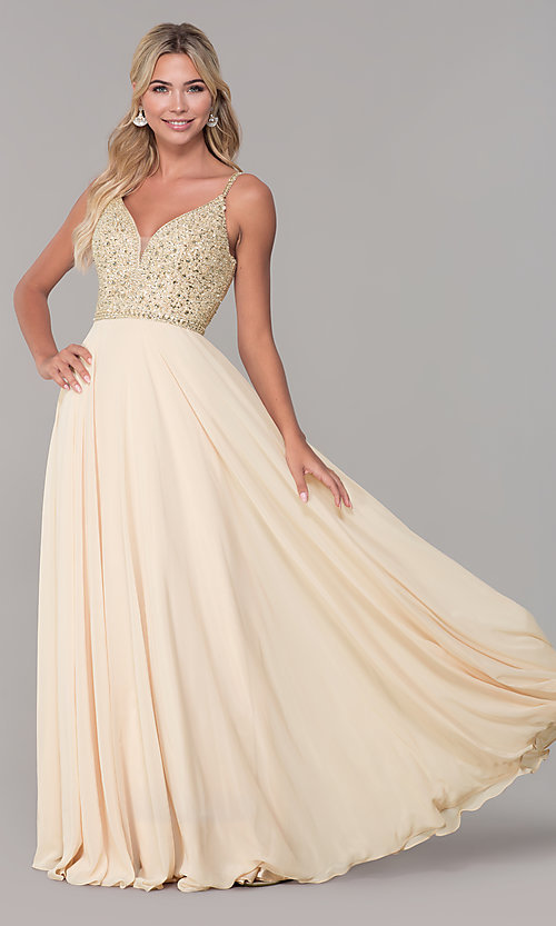 Image of long v-neck sleeveless beaded-bodice prom dress. Style: DQ-2493 Detail Image 1