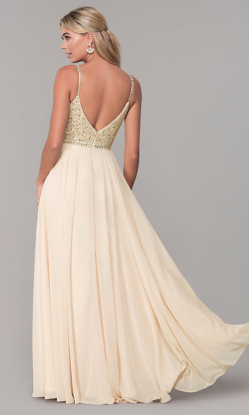 Image of long v-neck sleeveless beaded-bodice prom dress. Style: DQ-2493 Detail Image 2