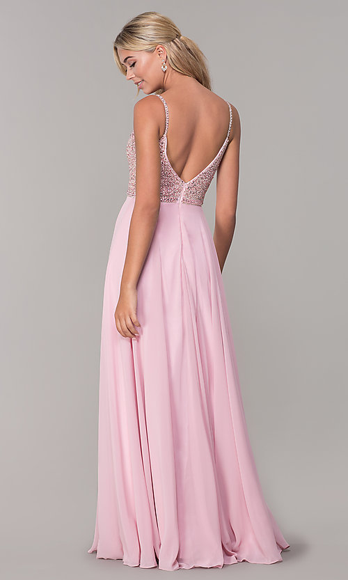 Image of long v-neck sleeveless beaded-bodice prom dress. Style: DQ-2493 Detail Image 7
