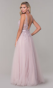 Image of long tulle prom dress with embroidered bodice. Style: DQ-2596 Back Image