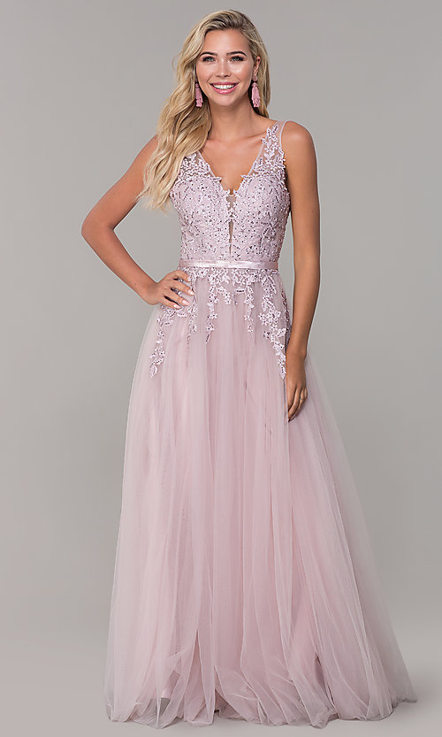 Image of long tulle prom dress with embroidered bodice. Style: DQ-2596 Detail Image 3
