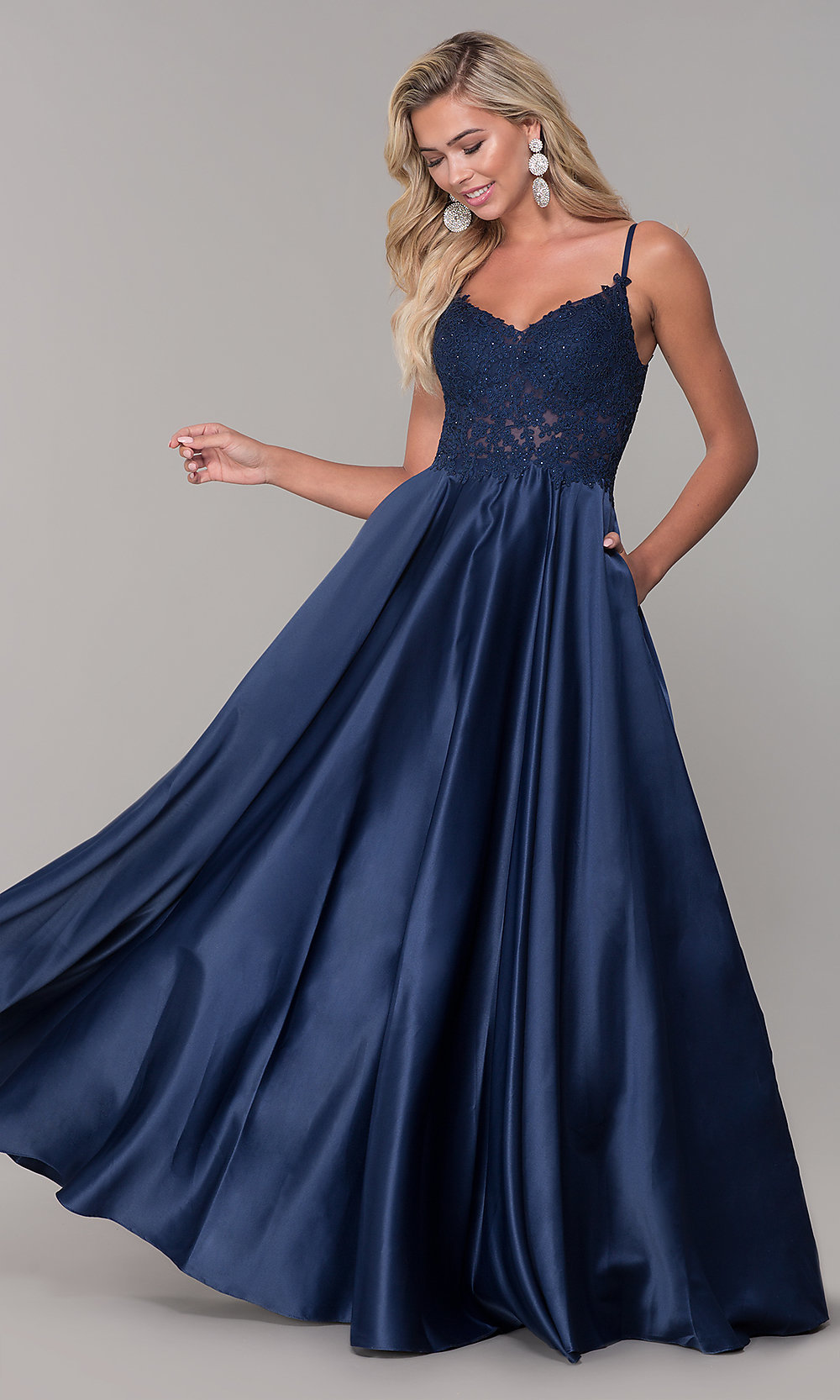 513ddef23ae82 Satin Prom Dress with Embroidered Bodice - PromGirl