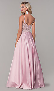 Image of long v-neck prom dress with embroidered bodice. Style: DQ-2459 Detail Image 5