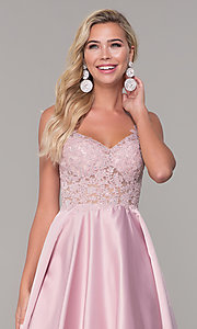 Image of long v-neck prom dress with embroidered bodice. Style: DQ-2459 Detail Image 6