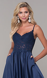 Image of long v-neck prom dress with embroidered bodice. Style: DQ-2459 Detail Image 1