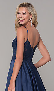 Image of long v-neck prom dress with embroidered bodice. Style: DQ-2459 Detail Image 2