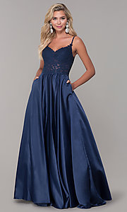 Image of long v-neck prom dress with embroidered bodice. Style: DQ-2459 Detail Image 3