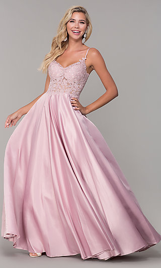 6f0db72412956 Long V-Neck Prom Dress with Embroidered Bodice