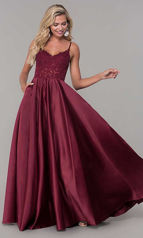 Image of long v-neck prom dress with embroidered bodice. Style: DQ-2459 Detail Image 7