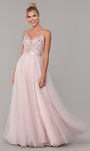 Image of long tulle prom dress with v-neck beaded bodice.  Style: DQ-2519 Detail Image 4