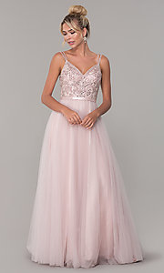 Image of long tulle prom dress with v-neck beaded bodice.  Style: DQ-2519 Detail Image 3