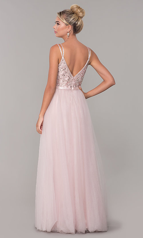 Image of long tulle prom dress with v-neck beaded bodice.  Style: DQ-2519 Detail Image 5
