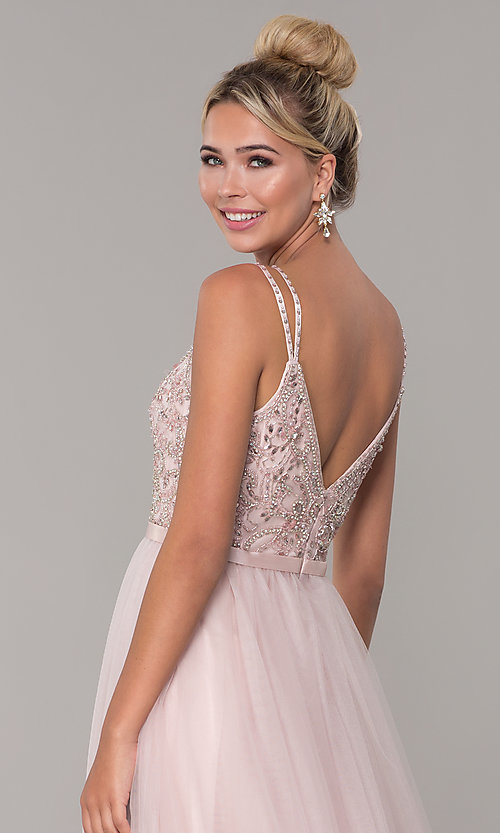Image of long tulle prom dress with v-neck beaded bodice.  Style: DQ-2519 Detail Image 7